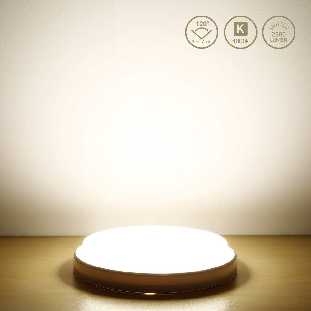 Schutzart IP44 6500K Ersatz 150W Glühlb 24W LED Deckenleuchte Kaltweiß 2160LM