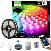 Lepro Smart LED Strip Set, 5M RGB LED Streifen, Kompatibel mit Alexa, Google Home, 5050 SMD WIFI LED Lichtband, Flexibel LED Band, Musik LED Band Lichterkette für Haus, Küche, TV, Party