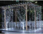 LE LED Lichtervorhang 3m x 3m, 8 Modi 306 LEDs Vorhang Lichterkette, Kaltweiß Lichterkettenvorhang, Lichterketten für Außen Innen Deko Schlafzimmer, Partydekoration, Weihnachten, Hochzeit