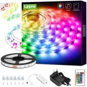 Lepro 5M LED Strip RGB Mit Musik, LED Streifen Sync Set mit Fernbedienung,Licht Band Farbwechsel,LED Stripes Lichterkette IP20, Flexibel LED Leiste,Lichtband Lichter für Party Küche Weihnachten Deko