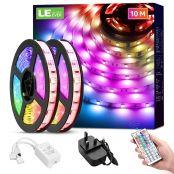 LE LED Strip Lichtband,10m (2x5m) RGB LED Streifen Band, 5050 SMD LED stripes, LED Lichterkette mit 44 Tasten Fernbedienung, verstellbare Helligkeiten RGB Farbwechsel Strip für Haus, Party, Bar, TV