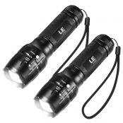 2er LED Taschenlampe, Taktische Handlampe mit einstellbarem Fokus, 5 Lichtmodi, Zoombar Taschenlampen für den Außenbereich, wasserfeste Handlicht für Camping, Wandern, Notfall…