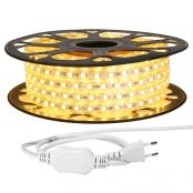 15M LED Lichterkette, 5050 SMD LEDs, 220V-240V LED Streifen, Superhelle warmweiß,