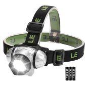 LED Kopflampe, vier Lichtmodi, weiß rot, Blinklicht Dauerlicht, Batterien inklusive, 2er Set