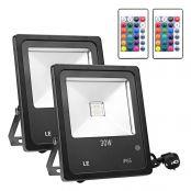 2er 30W RGB LED Strahler, fernbedient Fluter, 16 Farben & 4 Modi, Wasserdicht LED Außenleuchten