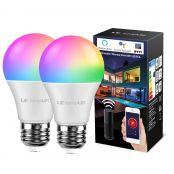Lampux Smart WiFi Lampen 9W E27 LED Smart Wlan Glühbirnen RGB Farben mit einstellbarer Helligkeit, kompatibel mit Alexa, Google Home, Kein Hub erforderlich, 2 Pack