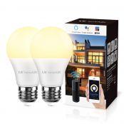Lampux Smart WiFi Lampen E27 9W LED Smart Wlan Glühbirnen, kompatibel mit Alexa, Echo, Google Home, 2.4 GHz, Fernbedienung, kein Hub erforderlich, 2 Pack
