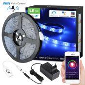 Lampux LED Streifen Set, 5M RGBW, 300 LED 1680lm wasserdicht IP65, Sprachsteuerung und APP, Mehrfarben-Dimmbar, Lichtleiste Kompatibel mit Alexa, Google Home und IFTTT, kein Hub erforderlich