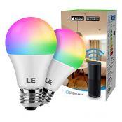 LE Smart E27 LED Lampen, 9W RGB und Warmwei§ Dimmbar LED Leuchtmittel, Wlan LED Birnen, kompatibel mit Alexa und Google Home, Kein Gateway erforderlich