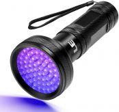 LE UV Lampe, Schwarzlicht Taschenlampe LED, 68 LED 395nm Ultraviolette Taschenlampe für unechte Banknoten,Urin von Hunde, und andere Haustiere Taschenlampenzubehör, AA-Batterien betrieben