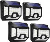 LE LED Solarlampe Außen mit Bewegungsmelder, 270 °Winkel Vierseitig Solarleuchte Garten, IP65 Wasserdicht Sicherheitswandleuchte für Vordertür, Hintergarten, Garage, Hof, 4er Pack