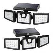 Lepro Solarlampen für Außen mit Bewegungsmelder 2er, 70 LED 6500K Solarleuchte Aussen, Solar Wandleuchte IP64 Wasserdicht, Aussenleuchte 270 °Winkel für Garten, Balkon, Garage, Hof