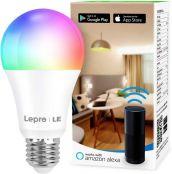 Lepro Smarte Glühbirnen E27, Smart WiFi LED-Lampe, 9W 806 LM WLAN Dimmbar Birne, Mehrfarbige, App Steuern Kompatibel mit Alexa Echo, Google Home, Warm-/Kaltesweiß licht (nur 2,4 GHz)