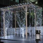 Lepro LED Lichtervorhang 3m x 3m, 8 Modi 306 LEDs Vorhang Lichterkette, Kaltweiß Lichterkettenvorhang, Lichterketten für Außen Innen Deko Schlafzimmer, Partydekoration, Weihnachten, Hochzeit