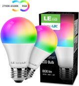 LE WiFi Lampe, 8.5W Dimmbar Smart LED Birne, E27 RGB + mit einstellbarer Helligkeit 2700-6500K, kompatibel mit Alexa(Echo, Echo Dot) und Google Home, Kein Gateway erforderlich, 2er