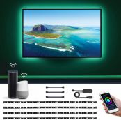 Smart TV LED Licht Streifen, Sprachsteuerung & App Steuerung, 16 Millionen Farben, 8 Leuchtmodi, Farbwechsel, mit Alexa und Google Home kompatibel