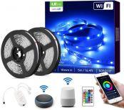 LE LED Strip 10M(2x5M), Alexa RGB LED Streifen, IP20 Smart LED Leiste inkl. Fernbedienung, WiFi LED Band Lichterkette für Haus,Küche,Party,TV, Lichtband Kompatibel mit Alexa,Google Home(nur 2.4GHz)
