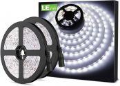 LE LED Streifen 12V 5m Selbstklebend, Leiste mit 300 Stück 2835 LEDs, 6000 Kelvin 2400 Lumen Kaltweiß DIY Flexibel LED Band für Innen Heim Küche Feiertag Dekoration, usw. 2er Pack