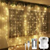 LE Lichtervorhang 3 * 3m, USB Lichterketten Vorhang 300 LEDs Warmweiß, 8 Modi Dimmbare Kupferdraht, Lichterkette Batterie für Außen Innen Deko Schlafzimmer, Partydekoration, Weihnachten, Hochzeit