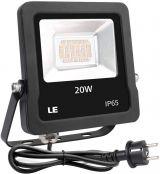 LE LED Strahler 20W mit EU Stecker, 1600 Lumen Superhell Flutlichtstrahler, IP65 Wasserdicht Fluter, Warmweiß Außenscheinwerfer für Garten, Garage, Hotel, Hof usw