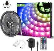 Lepro LED Strip, LED Streifen 5m, RGB Lichtband, IP65 Wasserdichte LED Lichterkette, Upgrade 44-Tasten Fernbedienung, 5050 SMD LED Band Streifen, Dimmbar LED Leiste für Weihnachten Heiligabend