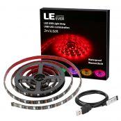 TV RGB Hintergrundbeleuchtung, 2M Kit für 40-60 Zoll TV, USB LED Streifen, 60 Stücke 5050 LEDs, ideal für Raumausstattung, Dekoration