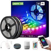 Lepro Smart LED Strip Set, 10M RGB LED Streifen, Kompatibel mit Alexa, Google Home, 5050 SMD WIFI LED Lichtband, Flexibel LED Band, Musik LED Band Lichterkette für Haus, Küche, TV, Party