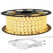 25M LED Lichterkette, 3528 SMD LEDs, 220V-240V LED Streifen, Superhelle warmweiß