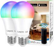 Lepro Alexa Glühbirnen E27, Smart WiFi LED-Lampe, 9W 806 LM WLAN Dimmbar Birne, Mehrfarbige, App Steuern Kompatibel mit Alexa Echo, Google Home, Warm-/Kaltesweiß licht, 2er Pack (nur 2,4 GHz)