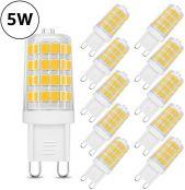 LE 5W G9 LED Lampe 340 Lumen, Kein Flackern und 3000k warmweiß G9 LED Leuchtmittel Ersatz 33W G9 Halogenlampe, 360° Abstrahlwinkel, nicht dimmbar 10er Pack
