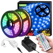 15M LED Strip Set (2x7.5M), RGB LED Streifen Band, 5050 SMD LED Stripes, 12V, Selbstklebend Lichtband mit 44 Tasten Fernbedienung, Flexibel LED Leiste, LED Lichterkette