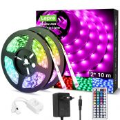 20M LED Strip Set (2x10M), RGB LED Streifen Band, 5050 SMD LED Stripes, 12V, Selbstklebend Lichtband mit 44 Tasten Fernbedienung, Flexibel LED Leiste, LED Lichterkette IP20