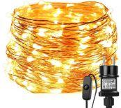 LE 20M LED Lichterkette Draht aus Kupferdraht, 200 LEDs, Wasserdicht IP65, Strombetrieben mit Stecker, Ideale Weihnachtsbeleuchtung für Außen, Innen, Zimmer, Party, Hochzeit Deko usw. Warmweiß