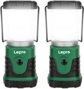 Lepro LED Camping Lampe, Mini Camping Laterne, 350LM, 4 Lichtmodi, 3 AA Batterie batteriebetriebene Suchscheinwerfer mit Bügel & Haken, Batterie Nicht enthalten, 2 Pack