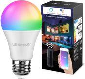LE Wlan Lampe E27, 9 W Intelligente Glühbirne, Wifi, Alexa, 806 lm, RGB Farben mit Warmweiß, verbunden, WiFi, kompatibel mit Google Home Alexa, Kein Gateway erforderlich