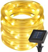 LE 12m LED Solarlichterkette mit Lichtsensor, 1,2 V 100 LEDs, wasserdicht IP55, tragbar, Außenlichterkette, LED Lichterketten Für Hochzeit, Party und Weihnachten, Weihnachtsbeleuchtung (Warmweiß)