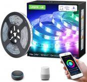 Lepro Smart LED Strip Set, RGB & Dimmbares weißes Licht, funktioniert mit Alexa und Google Home, wasserdicht IP65, 5M 5050 SMD LED Streifen, 300 LED, Flexibel LED Band mit Netzteil und Controller