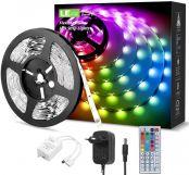 10m (2x5m) LED Strip Lichtband, RGB LED Streifen Band, 5050 SMD LED Lichterkette mit 44 Tasten Fernbedienung, Verstellbare Helligkeiten RGB Farbwechse LED Strip