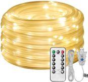 LE 12m Lichterschlauch, 100er LED USB 8 Modi Dimmbar Leuchtschlauch mit Fernbedienung, Zeitschaltuhr und Merkfunktion, IP65 Lichter für Innen Außen Party Hochzeit Weihnachten Deko, Warmweiß