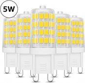 LE 5W G9 LED Lampe 340 Lumen, Kein Flackern und 6000k kaltweiß G9 LED Leuchtmittel Ersatz 33W G9 Halogenlampe, 360° Abstrahlwinkel, nicht dimmbar 5er Pack