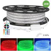 25M 230V RGB LED-Streifenlicht, 5050 SMD-LED-Bandlicht, mehrfarbig, Dimmbar, wasserdicht IP65, verzieren Weihnachten, Party und Hochzeit in Outdoor/Indoor