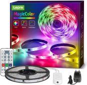 Lepro 5M LED Strip MagicColor RGB Mit Musik, LED Streifen Sync Set mit Fernbedienung, IP65 Wasserdicht Licht Band,Farbwechsel Lichterkette Flexibel, Lichtband Leiste für Party Weihnachten Deko