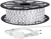 LE 15M LED Lichtband 230V, 5050 SMD LEDs, 220V-240V LED Streifen, Superhelle kaltweiße, IP65 wasserdichte außere dekorative Lichterketten