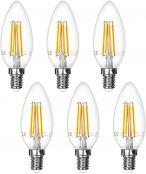 LE E14 LED Filament Lampe, 4W 400 Lumen Kerzenlampe, ersetzt 40W Glühlampe, 2700 Kelvin Warmweiß Vintage Glühbirne, 6er Pack