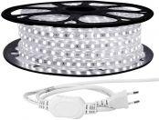 LE 25M LED Streifen 230V, 5050 SMD LEDs, 220V-240V LED Band, Superhelle kaltweiß, IP65 wasserdichte außere dekorative Lichterketten