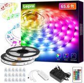 Lepro LED Strip 20M(2x10M), LED Streifen Musik Lichterkette mit Fernbedienung, Band Lichter, RGB Dimmbar Lichtleiste Light, Lichtband Leiste, Bunt Kette für Party Weihnachten Deko