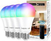 Lepro Smarte Glühbirnen E27, Smart WiFi LED-Lampe, 9W 806 LM WLAN Dimmbar Birne, Mehrfarbige, App Steuern Kompatibel mit Alexa Echo, Google Home, Warm-/Kaltesweiß licht, 4er Pack (nur 2,4 GHz)