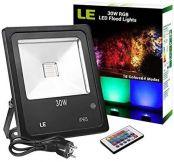 LE RGB Strahler, 16 Farben und 4 Modi Flutlicht mit Fernbedienung, IP65 wasserdicht LED Fluter, 30W