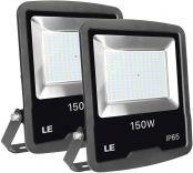 LE LED Strahler, 150W 12000 Lumen Superhell Scheinwerfer, IP65 Wasserdicht LED Fluter, 5000 Kelvin Kaltweiß Ersatz für 400W Hochdrucknatriumlampe, geeignet für Garten, Garage, Hotel usw, 2er Pack