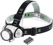 LE Stirnlampen LED Kopflampe, 4 Helligkeitstufen, leicht und superhell, ideal zum Wandern, Camping, Ausflug, AAA Batterien Inklusive